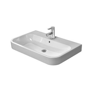 """Duravit 2318800000 Happy D.2 Ceramic 31-1/2"""" Bathroom Sink for Vanity, Wall Mounted or Console Installations with Single Faucet"""