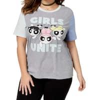 Love Tribe Gray Women's Size 1X Plus Powerpuff Girls Knit Top T-Shirt