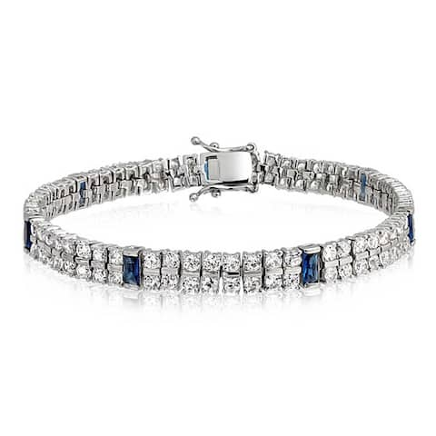 White And Blue CZ 2 Row Tennis Bracelet For Women Imitation Sapphire Baguette Cubic Zirconia Rhodium Plated Brass 7.5 In