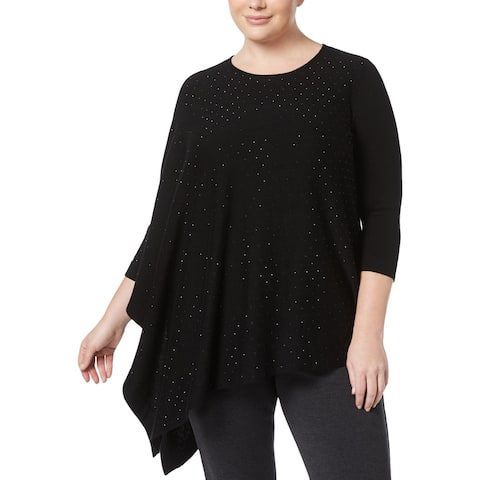 Anne Klein Womens Plus Pullover Sweater Embellished One Shoulder