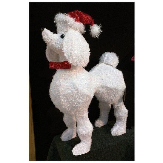 puleo 218 de6055c 3d poodle christmas decoration metal frame white 26