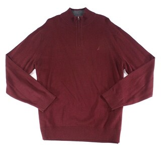 Nautica NEW Burgundy Red Mens Size 2XL 1/2 Zip Ribbed Mock-Neck Sweater