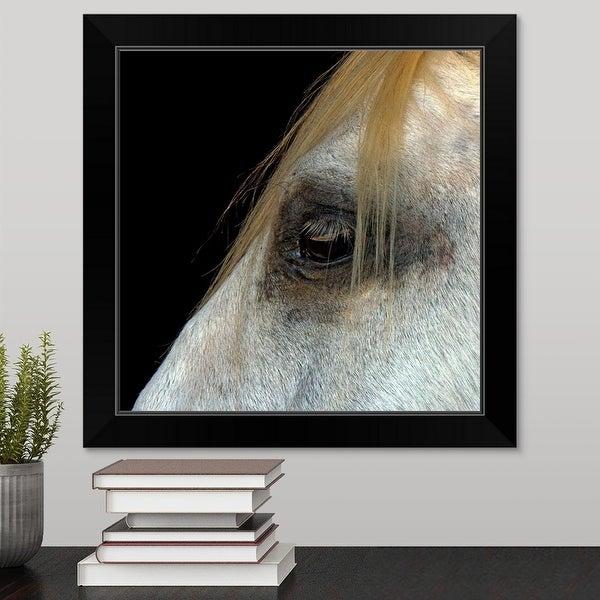 """""""White Horse."""" Black Framed Print"""