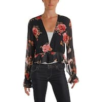 Olivaceous Womens Blouse Ruffled Wrap