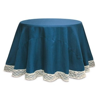 """2 Opulent Teal and Ivory Round Christmas Table Cloths with Crocheted Edges 96"""""""