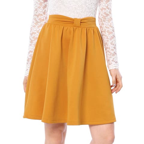 Unique Bargains Women Elastic Waistband Above Knee Pleated Bow Flared Skirt