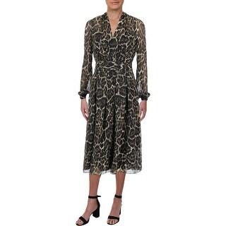 Shop Anne Klein Womens Midi Dress Animal Print Fit Amp Flare