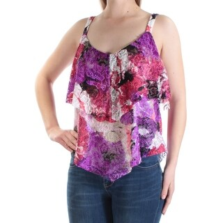 INC $59 Womens New 1358 Purple Pink Floral Lace Sleeveless Tiered Top M B+B