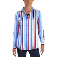Lauren Ralph Lauren Womens Button-Down Top Striped Long Sleeve