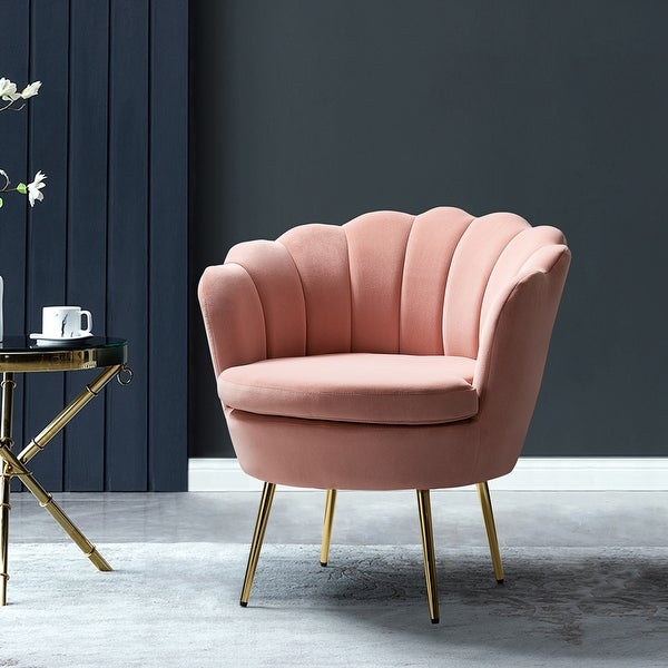 Gaitana Tufted Barrel Chair with Golden Base. Opens flyout.