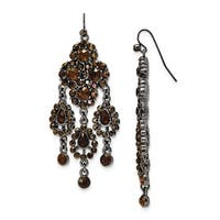 Black IP Cameo/Cultura Glass Pearl Leverback Earrings