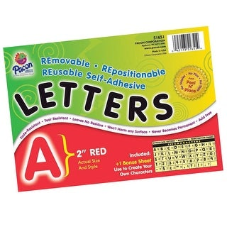 Pacon Self-Adhesive Reusable Letter, 2 in, Red, Set of 159