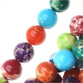 Impression Jasper Gemstone Beads, Round 6mm, 15 Inch Strand, Multi Color