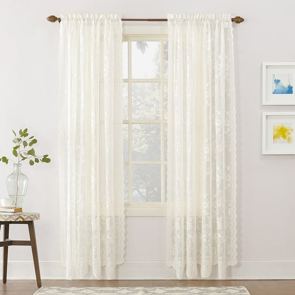 No. 918 Alison Floral Lace Sheer Rod Pocket Curtain Panel. Opens flyout.