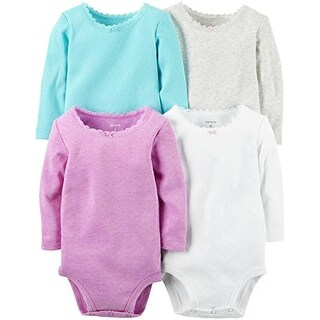 Carter's Baby Girls' 4 Multi-Pack Bodysuits, Assorted, 6 Months - Girl Heather