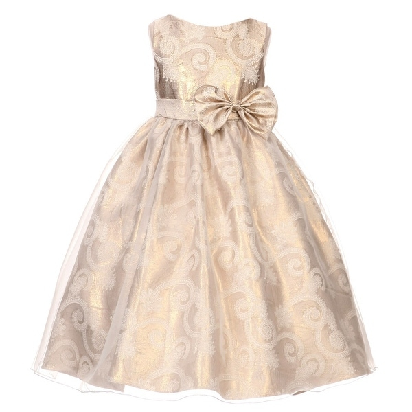 ec183548bb Shop Kids Dream Big Girls Gold Sequin Bodice Floral Overlaid Flower Girl  Dress 8-14 - Free Shipping Today - Overstock - 18163468