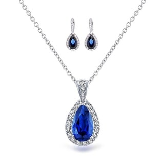 Bling Jewelry Blue CZ Pear Bridal Jewelry Set Rhodium Plated