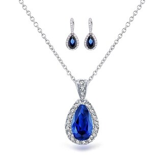 Bling Jewelry Blue CZ Pear Bridal Jewelry Set Rhodium Plated