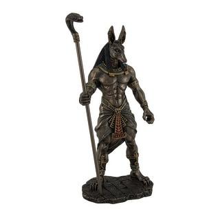 Anubis Holding Cobra Head Scepter Statue - Brown
