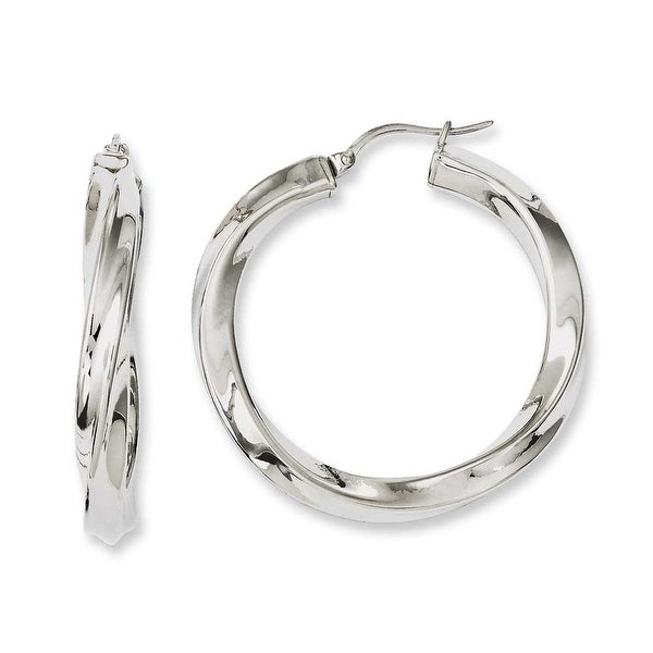 Chisel Stainless Steel Twisted Polished Hollow Hoop Earrings