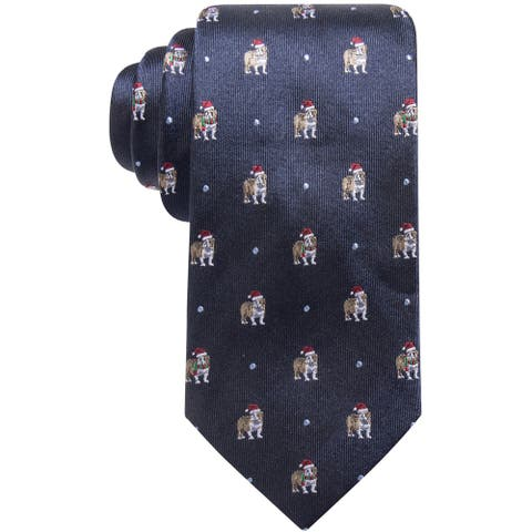 Club Room Mens Santa Hat Bulldog Self-tied Necktie, blue, One Size - One Size