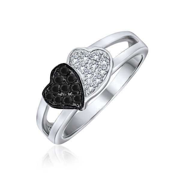 Black And White Two Tone CZ 2 Double Heart Ring 925 Sterling Silver. Opens flyout.