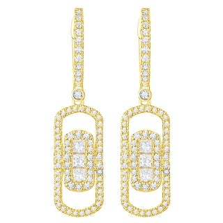Prism Jewel 0.81Ct G-H/SI1 & I1 Natural Diamond Oval Shape Drop Dangle Earring - N/A (More options available)