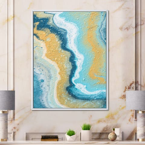 Designart 'Abstract Marble Composition In Yellow and Blue III' Modern Framed Canvas Wall Art Print