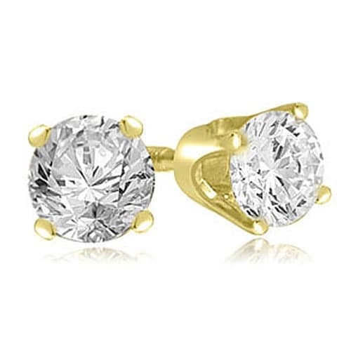 Amcor Design 14k Yellow Gold 1 4ct Tdw Round Cut Diamond Push Back Stud Earring On Free Shipping Today 18219468