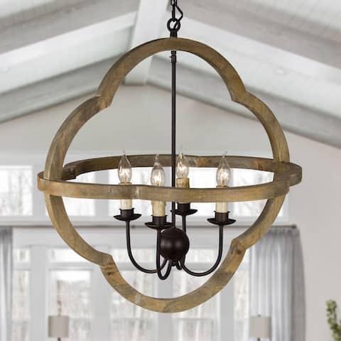 4-Light Natural Wood Lantern Geometric Chandelier