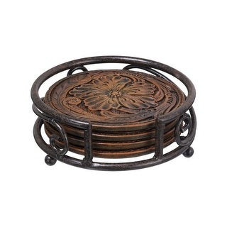 "Gift Corral Coaster Set Tooled Leather Design Beverage 3 3/4"" 87-1859"
