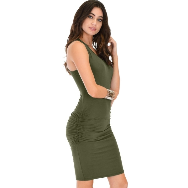 270d3f828a829 timeless hourglass ruched olive bodycon dress-Olive-Small