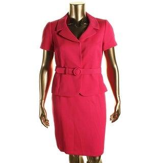 Tahari ASL Womens Petites Renee Textured Short Sleeves Skirt Suit