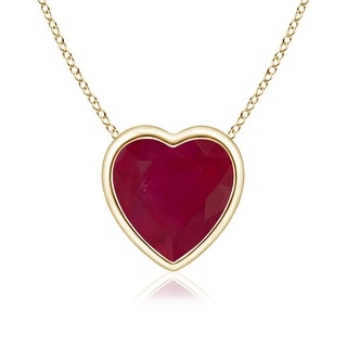 Angara Bezel Set Solitaire Heart Shaped Ruby Pendant - Red