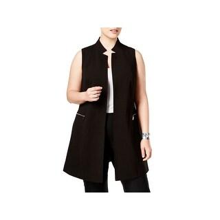 Calvin Klein Womens Plus Casual Vest Open Front Long - 18W