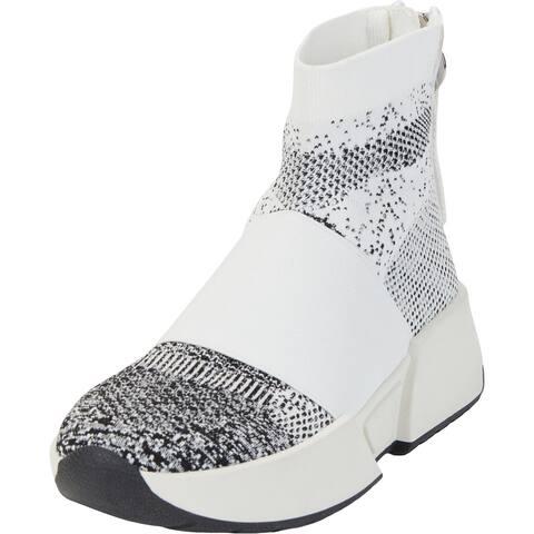 DKNY Womens Marini Slip On Sneaker Fashion Sneakers Slip On Lifestyle - Knit White/Black