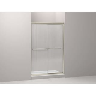 "Kohler K-702208-G54 Fluence Frameless Bypass Shower Door with Falling Lines Glass - 70-5/16"" H x 47-5/8"" W"