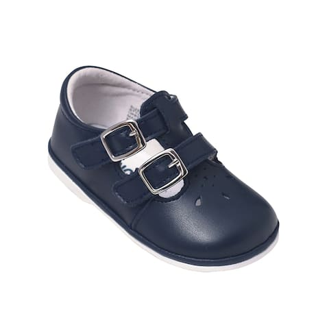 Angel Little Girls Navy Perforated Double Buckle Mary Jane Shoes 6 Toddler - 6 Toddler