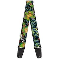 "Classic Tmnt Turtles Pose12 Cowabunga! Pop Art Guitar Strap  2.0"" Wide"