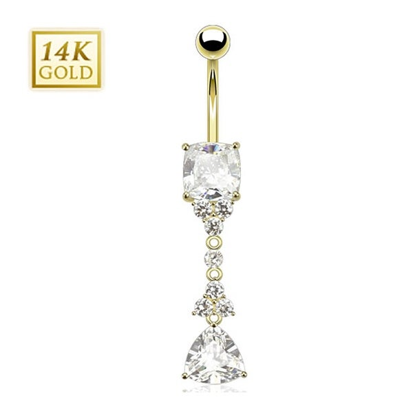 14 Karat Solid Yellow Gold with Trillion Cut Triangle CZ Dangle w/ Flowers Princess Cut Gem Navel Belly Button Ring