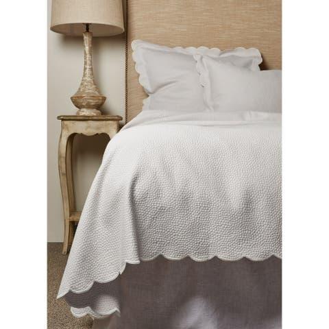 Hugh Matelasse White Cotton Coverlet or Pillow Sham