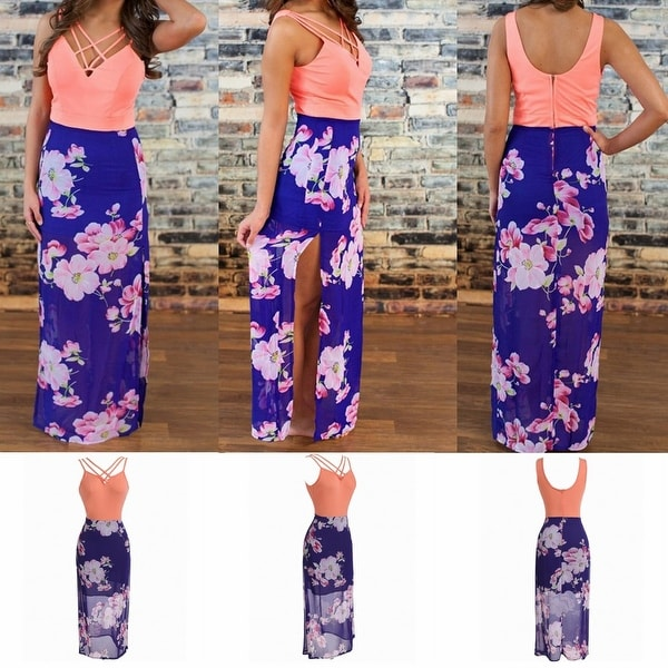 Womens Casual Summer Floral Side Slit Maxi Beach Tank Dress Sundress