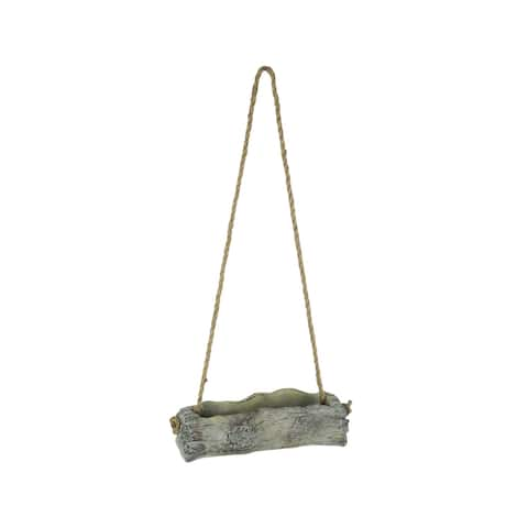 Lightweight Grey Cement Wood Look Tree Log Hanging Planter - 2.75 X 10 X 4.25 inches