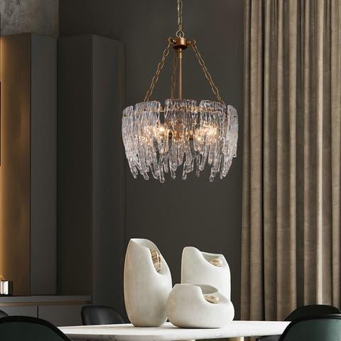 "Modern Glam 4-light Chandelier Crystal Glass Pendant Lights for Dining Room - D17.5""x H23.5"""