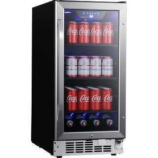 "EdgeStar CBR902SG  15"" Wide 80 Can Built-In Beverage Cooler with Blue LED Lighting - Stainless Steel"