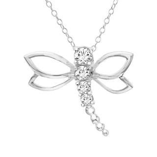 Dragonfly Pendant with Swarovski Zirconia in Sterling Silver - White