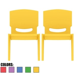 """2xhome - Set of 2 - Yellow - Kids Size Plastic Side Chair 12"""" Chair"""
