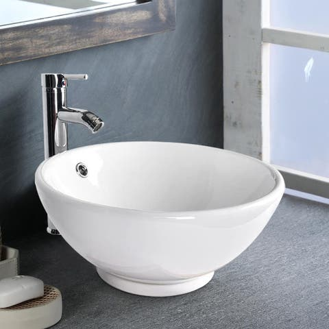 Ceramic Above counter Round Bathroom Sink Faucet - 16*16*6.5