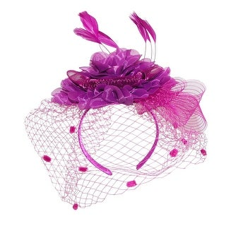 Something Special Women's Flower Veil Net Fascinator Headband with Feathers