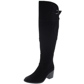 Qupid Womens Tobin Faux Suede Heels Over-The-Knee Boots
